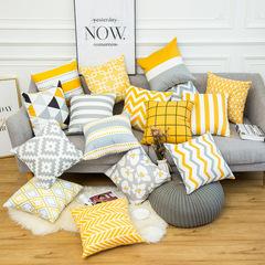 Nordic Style Warm Color Yellow Gray Geometric Stripe Pillowcase Sofa Cushion Bedding Pillow Covers 1 44*44 cm