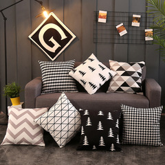 White Black Geometric Pillowcase Modern Style Home Sofa Cushion Cover Bedroom Pillowcase Random 45*45cm