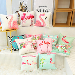 Flamingo Small Fresh American Pastoral Sofa Cushion Pillow Cover Home Bed Backrest Pillowcase 1 45*45cm Cover