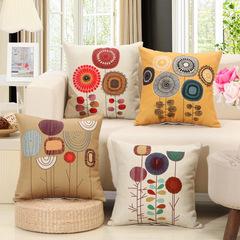 Simple Style Cushion Cover Home Pillow Case Cotton Linen Sunshine Cushion Sofa Bedroom Pillowcase 1 45*45cm