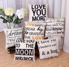 Cotton Linen Pillow Cushion Cover Home Bedroom Sofa Pillows Case Sunshine Smile Letters Pillowcase 1 45*45cm