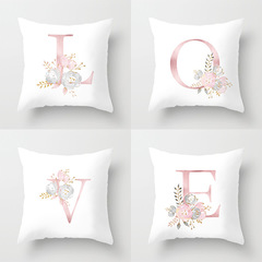 Alphabet Sofa Cushion Pillow Case Home Bedding Pillows Cover English Letters Pink LOVE Pillowcase A 45*45cm