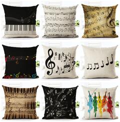 Classical Music Guitar Pillow Case Cushion Cover Sofa Home Decor Office Car Lumbar Pillowcase 2 45*45cm