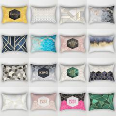 [200-10] Geometric Letters Lumbar Pillow Cushion Cover Home Sofa Pillow Case Bedroom Pillowcase 14 30*50cm