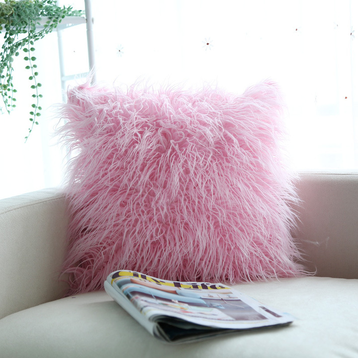 Long Plush Wool Cushion Pillow Cover Nordic Style Home Bedroom Bedside Sofa Pillowcase Pink 45*45cm