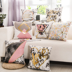 Stamping Flannel Pillow Case Golden Bedroom Sofa Cushion Cover Soft Pillowcase for Office Car Lumbar H3 45*45cm