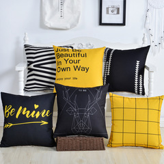 Simple Style Geometric Cushion Cover Home Pillow Case Sofa Bedroom Cotton Linen Pillowcase 1 45*45cm