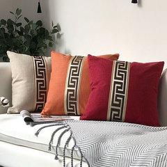 New Modern European Style Cotton Linen Pillowcase Office Home Decoration Bedding Sofa Cushion Cover Orange 45*45cm