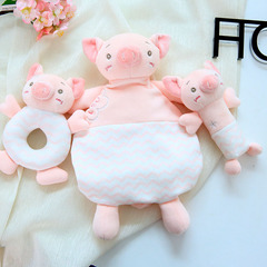 Baby 0-36 Months Comfort Toys Rattles Ring Soothing Towel Sleep Comfort Plush Toy Dolls for New Born Pig: Pinch To Ring none