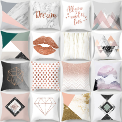 Geometric Letters Marble Pink Lumbar Pillow Cushion Cover Home Sofa Pillow Case Bedroom Pillowcase 2 45*45cm