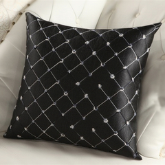 American Contracted Home Decoration Pillowcase Bedroom Sofa Cushion Cover for Car Office Lumbar Black 45*45cm
