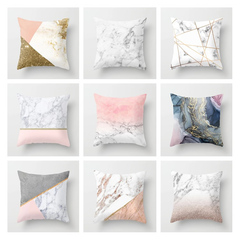 Ins Nordic Style Marble Pink Pillowcase Home Sofa Cushion Cover Pillow Case Bedroom Pillow Case 1 45*45cm