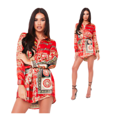 new fashion red shirts dress white shirt women printed shirt plus size best sales red 6