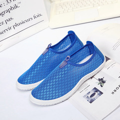 Men's Shoes with New Type of Mesh Surface Air-permeable Plate Shoes in Summer Loafers blue 39