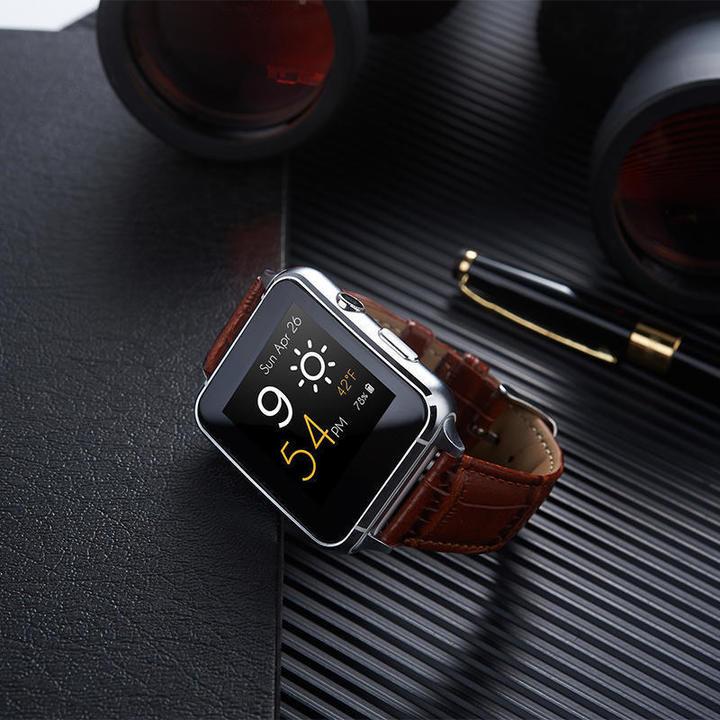 X7 smart watch leather strap arc screen Bluetooth phone card watch Brown same