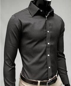 New men's striped gentleman's long sleeves casual shirt black m