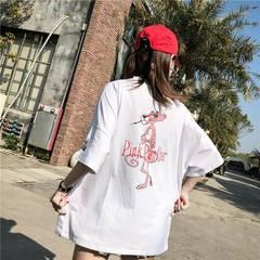 Couple outfit European fashion loose cotton pink panther white T - shirt white m