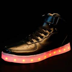 Air Force One7 colors LED luminous board shoes fashion wear-resistant men's and women's shoes black 34