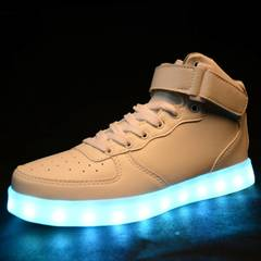 Air Force One7 colors LED luminous board shoes fashion wear-resistant men's and women's shoes white, 44