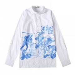 International trend men's cotton shirt casual long sleeve fashion printed shirt white l