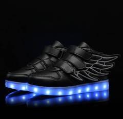 Fashion led children colorful wings illuminating shoes usb charging carbon black 25