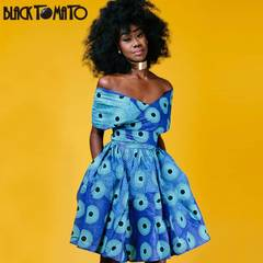 Digital printed sleeveless halter variety of dresses s blue