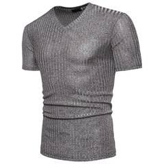Fashion v-neck pure color sport simple cotton men s t-shirt grey m 90%cotton