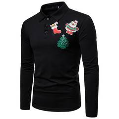 The new fashion Polo solid color Christmas embroidered long-sleeved men's T-shirt black s cotton
