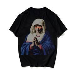 European Vogue Notre Dame Printing Pure Cotton Tide Women's and Men's T-Shirts black s cotton