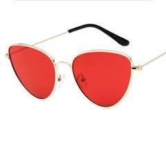 New cat's eye metal sunglasses European fashion retro sunglasses red same
