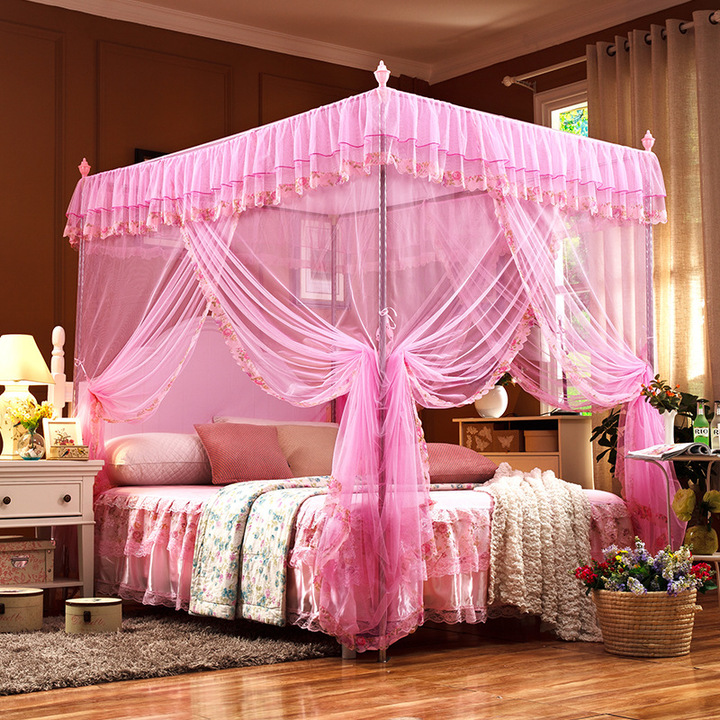 Mosquito net   European encrypted floor-to-ceiling court three-door princess tries to top of bed pink 1.2-2.0(22mm bracket)