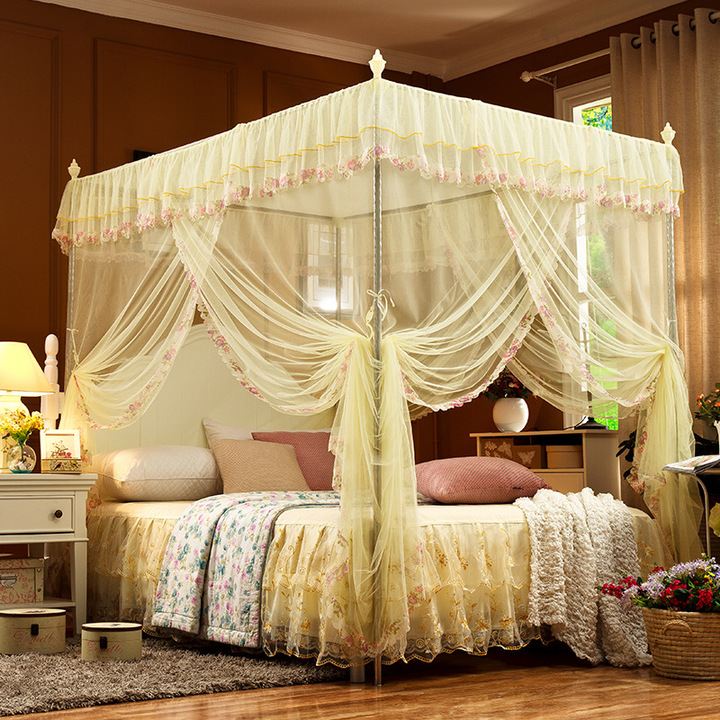 Mosquito net   European encrypted floor-to-ceiling court three-door princess tries to top of bed yellow 1.2-2.0(22mm bracket)