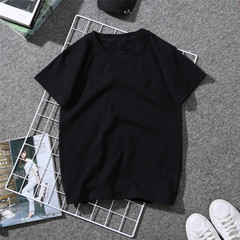 Solid color loose round neck men's and women's fashion black and white T-shirt black m polyester