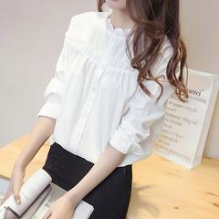 Long sleeve pure white ladies top base shirt shirt white s