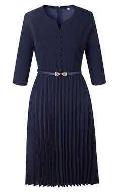2019 new heart collar pleated Big size dress m deep blue