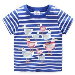 New Children's Short-sleeved Navy Blue T-shirt blue 80cm Cotton
