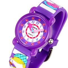 Children's 3D fashion cartoon waterproof Shi Ying silicone watches purple same