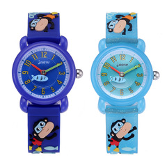 Children's 3D monkey printing silicone cartoon fashion cute waterproof Shi Ying student watches blue same