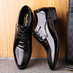Men's English pointed fashion business dress black patent leather shoes black 38 leather