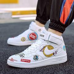 2019 air force one new AJ men's shoes high top graffiti fashion trend hip hop board shoes black 36