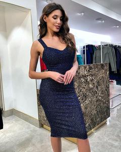 New style feminine women slim sexy strappy dress s blue