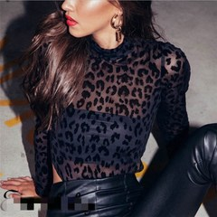 New women's black leopard mesh see-through sexy jumpsuits leopard print s