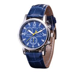 Business fashion double-sided belt men's quartz watch blue same
