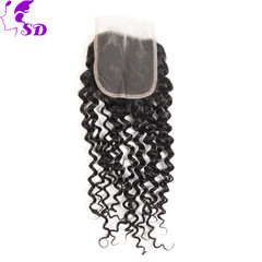 4*4 Human hair piece real person wig curl women hair black 6 inch