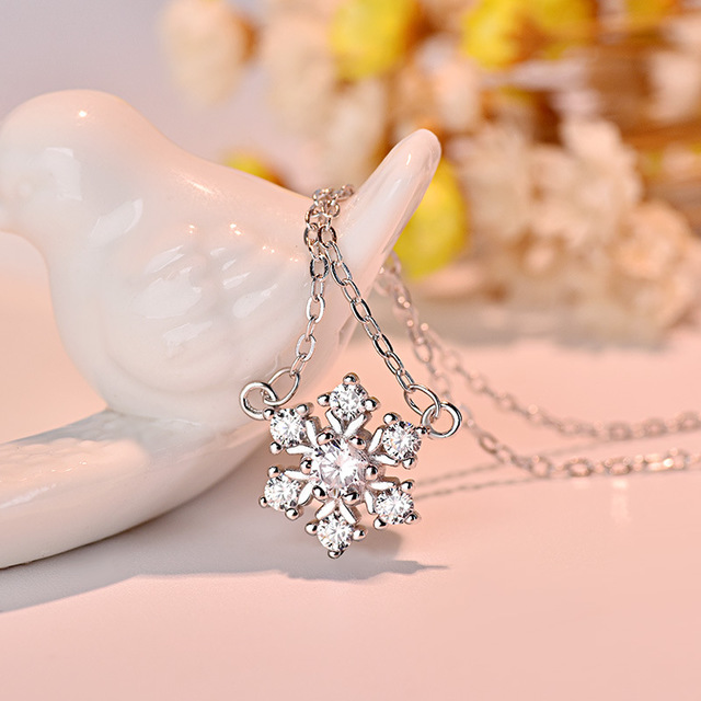 Snow Necklace Pendant New Style Christmas Gift Jewelry Birthday For Girlfriend Year Silver