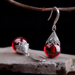 Fashion Women Water Drop Crystal Dangle Earrings Bride Wedding Earrings red one size