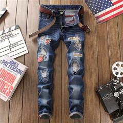 Men Stylish Denim Pants Slim Fit Jeans Straight Stretch Skinny Jeans Long Pants #808 31
