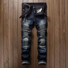Mens Classic Jeans Hole Pleated Zipper Jeans Pants Slim Straight Biker Trousers Dark blue 32