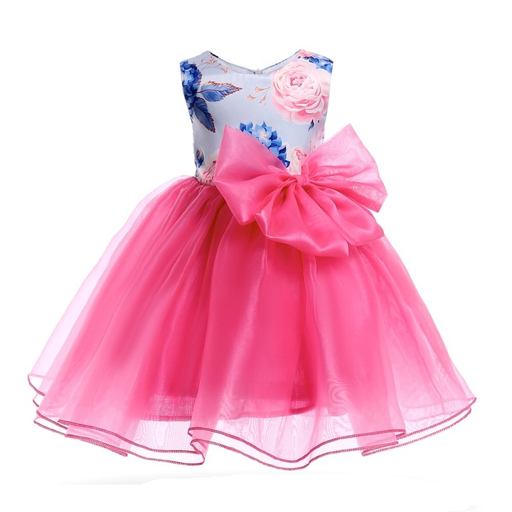 f3f6181568c2 2019 New Summer Girls Peony Print Princess Skirt Flower Girl Bow Dress  Birthday Party Stage Dress
