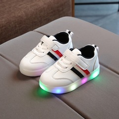 Spring New Arrival Fashion LED Light Casual Sneaker Shoes Kids Baby Girls Boys Gift 1 LED light black 24